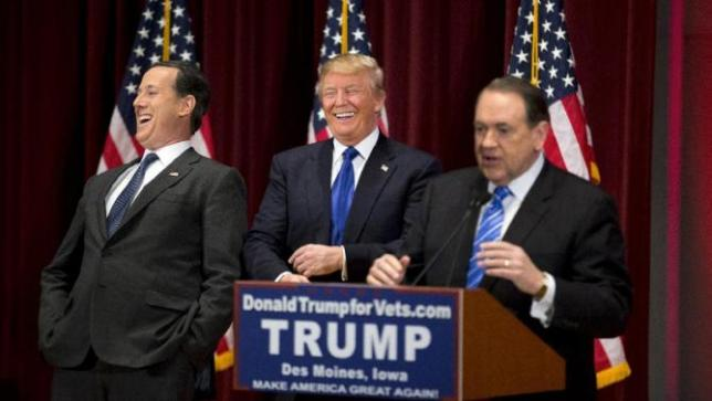 Donald Trump, Mike Huckabee, Rick Santorum