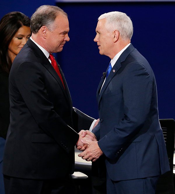 Tim Kaine and Mike Pence Square Off At First Vice Presidential Debate, October 4, 2016 (REX/Shutterstock)