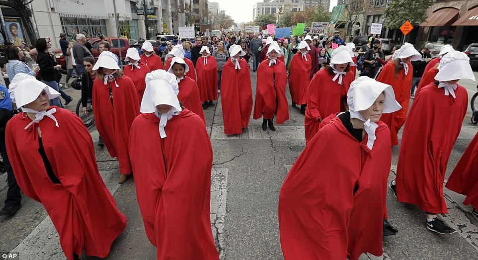 handmaiden;s tale protestors