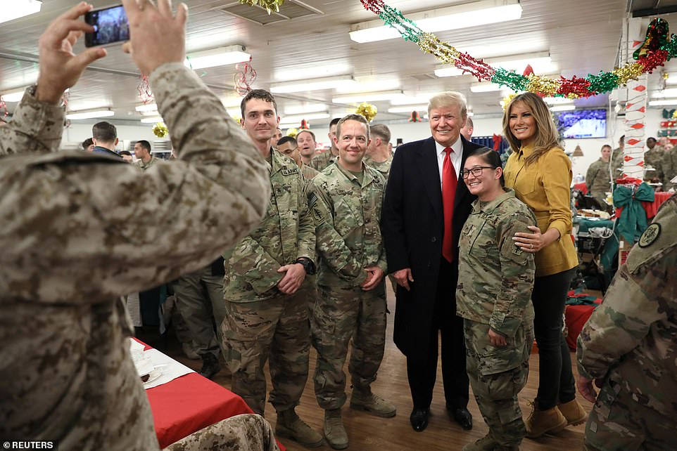 Trump and Melania with troops