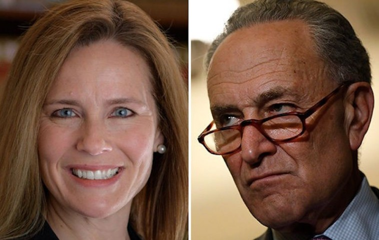 This image has an empty alt attribute; its file name is amy-coney-barett-chuck-schumer.jpg