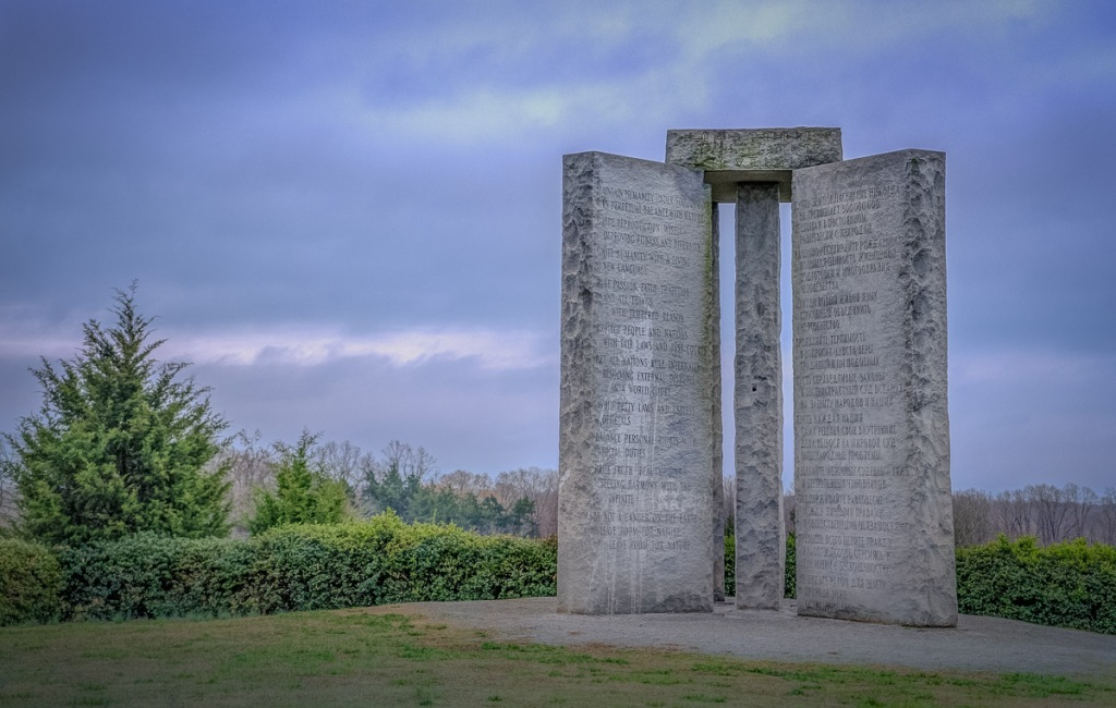 This image has an empty alt attribute; its file name is georgia_guidestones_2014-03-18_01.jpg