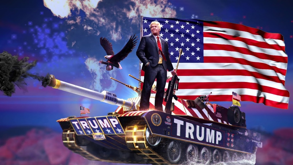 This image has an empty alt attribute; its file name is trump-on-tank.jpg