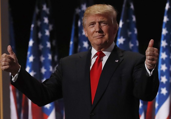 This image has an empty alt attribute; its file name is trumpgivesthumbsup.jpg